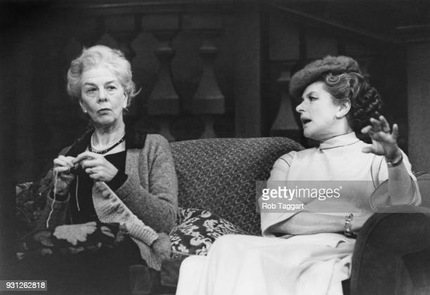 Actresses Wendy Hiller and Ingrid Bergman during a dress rehearsal for the play 'Waters of the Moon' by N C Hunter at the Theatre Royal in London...