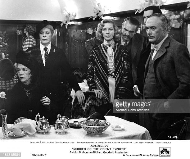 Actresses Wendy Hiller,Rachel Roberts, Lauren Bacall, actor Sean Connery, Anthony Perkins and Martin Balsam on the set of the Paramount Pictures...