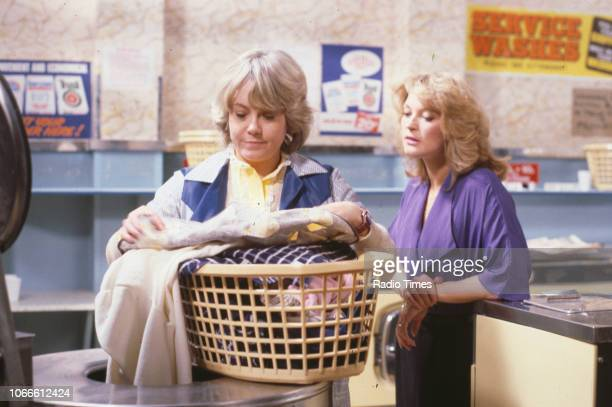 Actresses Wendy Richard and Gillian Taylforth in a scene from the BBC soap opera 'EastEnders' November 21st 1984