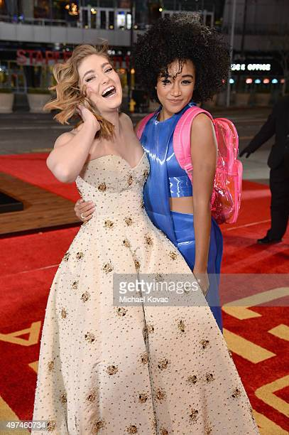 Actresses Willow Shields and Amandla Stenberg attend 'Hunger Games Mockingjay Part 2' Los Angeles Premiere Sponsored By Chrysler on November 16 2015...