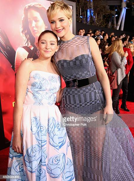 Actresses Willow Shields and Jennifer Lawrence attend premiere of Lionsgate's The Hunger Games Catching Fire Red Carpet at Nokia Theatre LA Live on...