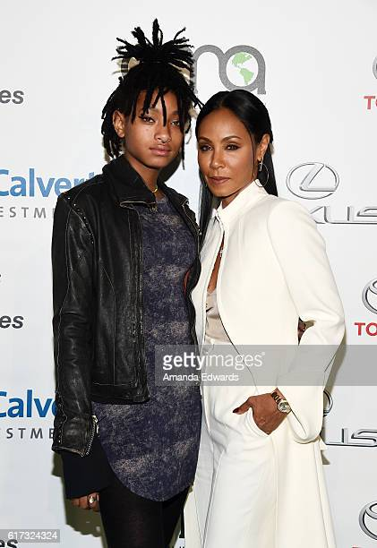 Actresses Willow Smith and Jada Pinkett Smith arrives at the 26th Annual EMA Awards at Warner Bros Studios on October 22 2016 in Burbank California