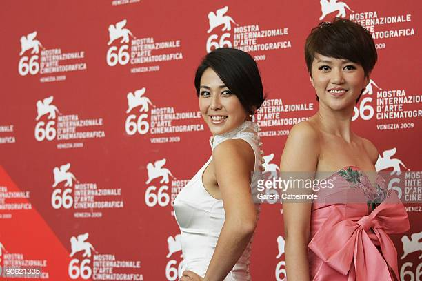 Actresses Wu Anya and Tan Weiwei attend the 'Chengdu I Love You' photocall at the Palazzo del Casino during the 66th Venice Film Festival on...