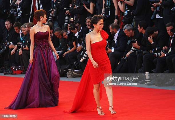 Actresses Wu Anya and Tan Weiwei attend the Closing Ceremony at the Sala Grande during the 66th Venice Film Festival on September 12 2009 in Venice...