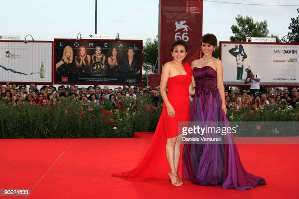 Actresses Wu Anya and Tan Weiwei attend the Closing Ceremony Red Carpet And Inside at The Sala Grande during the 66th Venice Film Festival on...