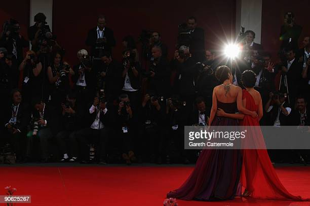 Actresses Wu Anya and Tan Weiwei attends the Closing Ceremony at the Sala Grande during the 66th Venice Film Festival on September 12 2009 in Venice...