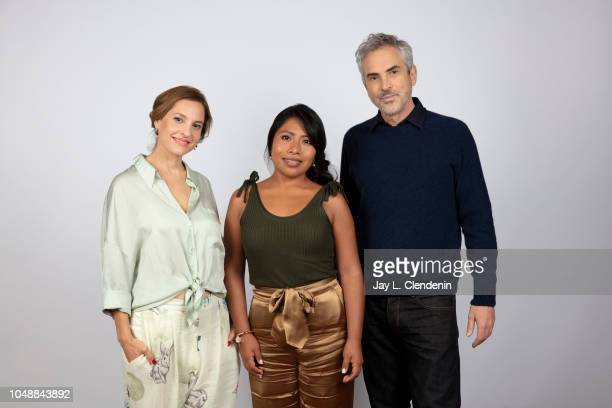 Actresses Yalitza Aparicio Marina De Tavira and director Alfonso Cuaron from 'Roma' are photographed for Los Angeles Times on September 10 2018 in...