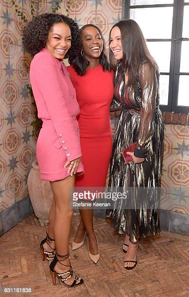 Actresses Yara Shahidi Aja Naomi King and Jurnee SmollettBell attend Lynn Hirschberg Celebrates W Magazine's It Girls with Stuart Weitzman at AOC on...