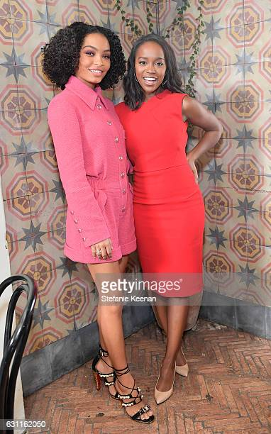 Actresses Yara Shahidi and Aja Naomi King attend Lynn Hirschberg Celebrates W Magazine's It Girls with Stuart Weitzman at AOC on January 7 2017 in...
