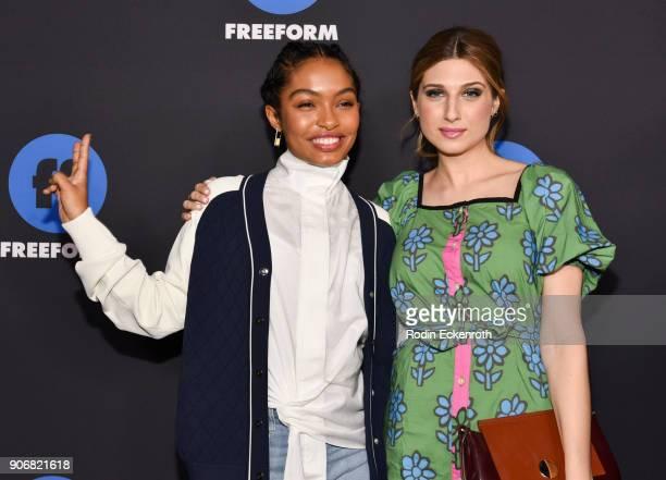 Actresses Yara Shahidi and Emily Arlook of 'Grownish' arrive at Freeform Summit on January 18 2018 in Hollywood California