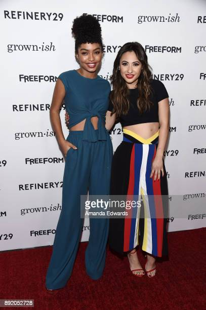 "Actresses Yara Shahidi and Francia Raisa arrive at the premiere of ABC's ""Grown-ish"" on December 13, 2017 in Hollywood, California."