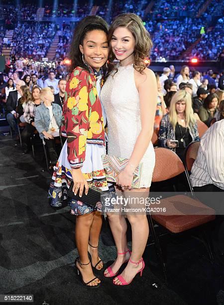 Actresses Yara Shahidi and Kira Kosarin attend Nickelodeon's 2016 Kids' Choice Awards at The Forum on March 12 2016 in Inglewood California