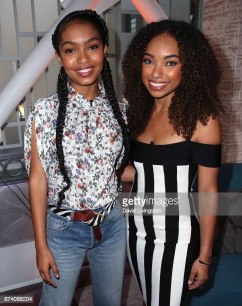 Actresses Yara Shahidi and Logan Browning visit Hollywood Today Live at W Hollywood on April 27 2017 in Hollywood California