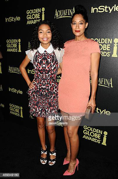 Actresses Yara Shahidi and Tracee Ellis Ross attend the Hollywood Foreign Press Association and InStyle's celebration of the 2015 Golden Globe award...