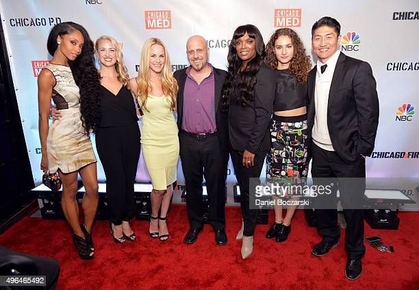 Actresses Yaya DaCosta Melissa Dennis Julie Marie Berman Dr Andrew Dennis Marlyne Barrett Rachel DiPillo and Brian Tee attend a premiere party for...