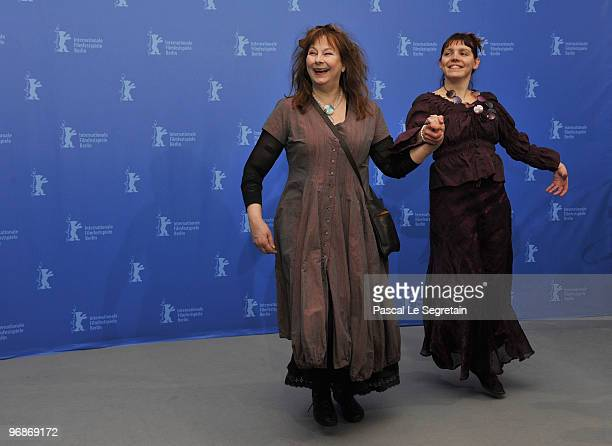 Actresses Yolande Moreau and Miss Ming dance at the 'Mammuth' Photocall during day nine of the 60th Berlin International Film Festival at the Grand...