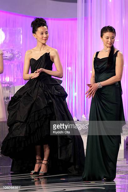 Actresses Yoshino Kimura and Yui Natsukawa attend the 34th Japan Academy Aawrds at Grand Prince Hotel New Takanawa on February 18, 2011 in Tokyo,...