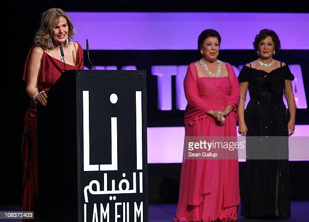 Actresses Yosra Raja Al Jiddawi and Lubluba onstage at the Awards Show and Closing Night Red Carpet and Screening of 'The First Grader' during the...