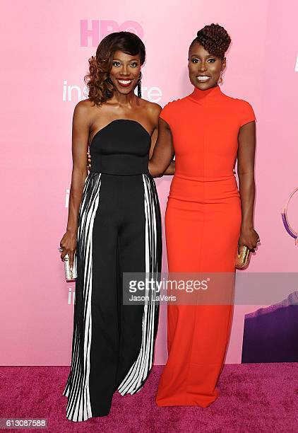 Actresses Yvonne Orji and Issa Rae attend the premiere of 'Insecure' at Nate Holden Performing Arts Center on October 6 2016 in Los Angeles California