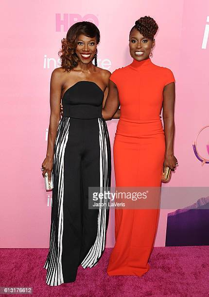 Actresses Yvonne Orji and Issa Rae attend the premiere of Insecure at Nate Holden Performing Arts Center on October 6 2016 in Los Angeles California