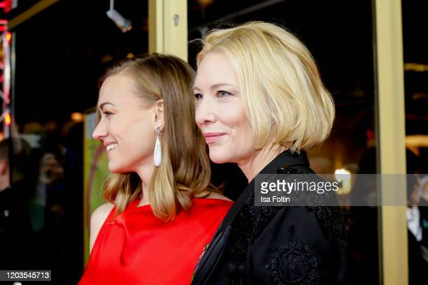 Actresses Yvonne Strahovski and Cate Blanchett attend the Stateless premiere during the 70th Berlinale International Film Festival Berlin at Zoo...