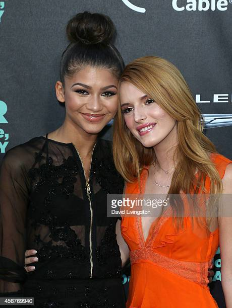 Actresses Zendaya and Bella Thorne attend the premiere of Disney's Alexander and The Terrible Horrible No Good Very Bad Day at the El Capitan Theatre...