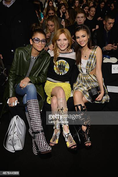 Actresses Zendaya Bella Thorne and Victoria Justice attend Rebecca Minkoff fashion show during MercedesBenz Fashion Week Fall 2014 at The Theatre at...