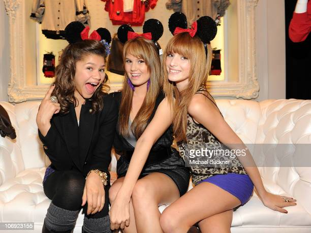 Actresses Zendaya Coleman Debby Ryan and Bella Thorne attend the Minnie Muse Collection Launch at the Forever 21 in Hollywood and Highland on...