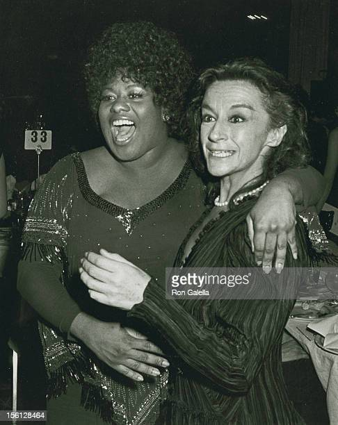 Actresses Zoe Caldwell and Jennifer Holliday attending 'Party for 36th Annual Tony Awards' on June 6 1982 at the Waldorf Hotel in New York City New...