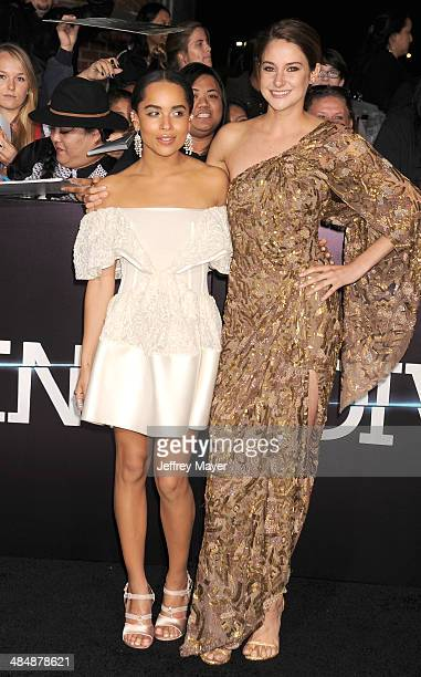 Actresses Zoe Kravitz and Shailene Woodley arrive at the Los Angeles premiere of 'Divergent' at Regency Bruin Theatre on March 18, 2014 in Los...