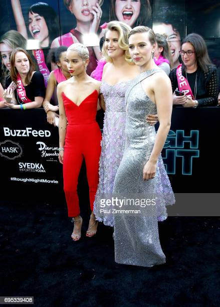Actresses Zoe Kravitz Jillian Bell and Scarlett Johansson attend the 'Rough Night' New York Premiere on June 12 2017 in New York City