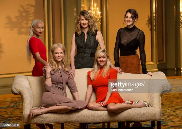 Actresses Zoe Kravitz Nicole Kidman Laura Dern Reese Witherspoon and Shailene Woodley are photographed for USA Today on January 14 2017 in Pasadena...