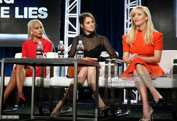 Actresses Zoe Kravitz Shailene Woodley and executive producer/actress Reese Witherspoon of the series 'Big Little Lies' speak onstage during the HBO...