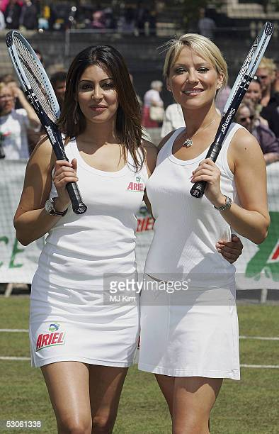 Actresses Zoe Lucker and Laila Rouass pose for photographers at the Ariel Celebrity Tennis Match held in Trafalgar Square on June 13 2005 in London...