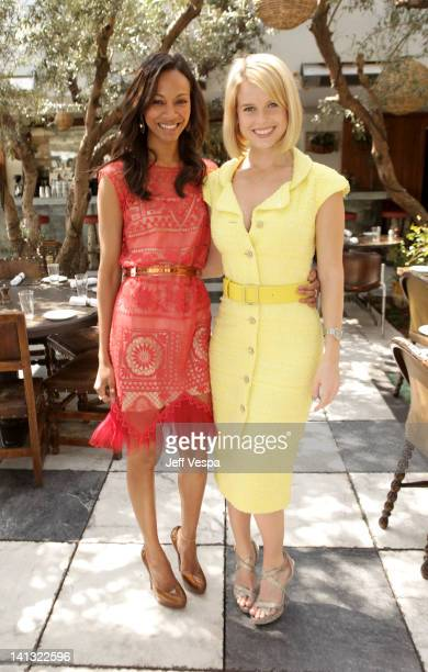 Actresses Zoe Saldana and Alice Eve attend the The Hollywood Reporter Jimmy Choo Inaugural 25 Most Powerful Stylists Luncheon at Soho House on March...