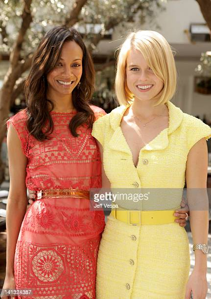 Actresses Zoe Saldana and Alice Eve attend the The Hollywood Reporter & Jimmy Choo Inaugural 25 Most Powerful Stylists Luncheon at Soho House on...