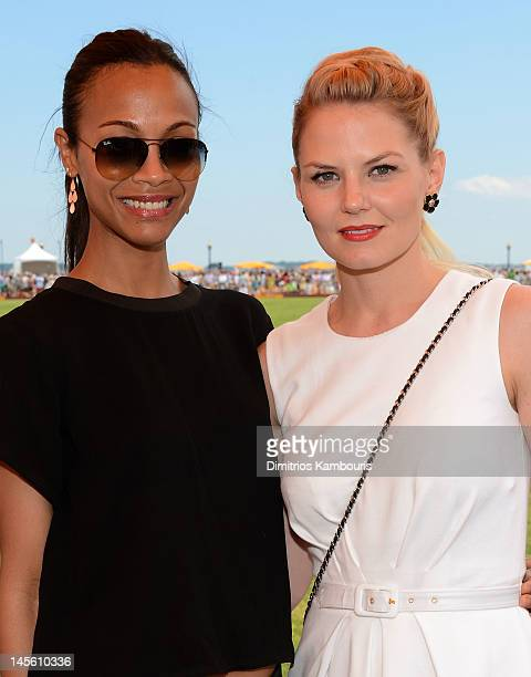 Actresses Zoe Saldana and Jennifer Morrison pose at the VIP Marquee during the fifth Annual Veuve Clicquot Polo Classic on June 2, 2012 in Jersey...