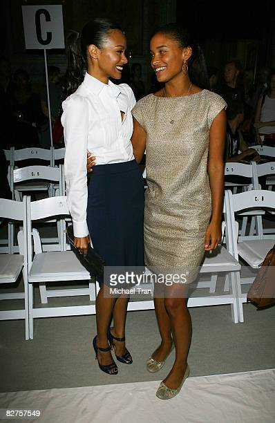Actresses Zoe Saldana and Joy Bryant stand in the front row at the Malo Spring 2009 Collection during MercedesBenz Fashion Week at Celeste Bartos...
