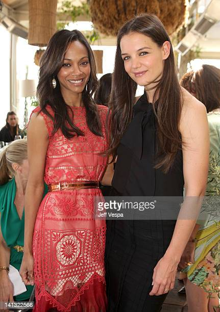Actresses Zoe Saldana and Katie Holmes attend the The Hollywood Reporter & Jimmy Choo Inaugural 25 Most Powerful Stylists Luncheon at Soho House on...