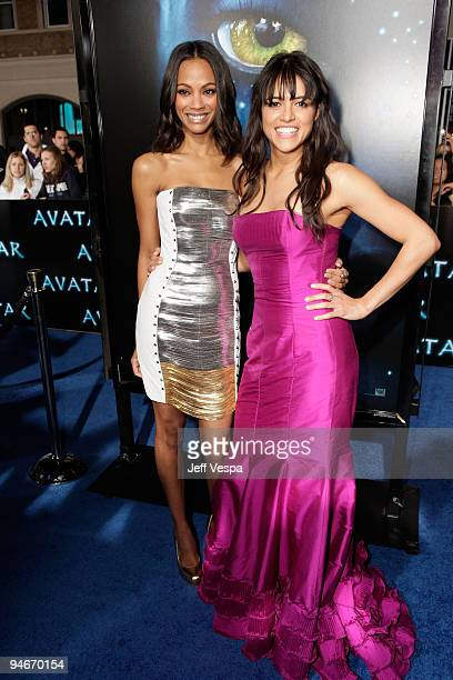 Actresses Zoe Saldana and Michelle Rodriguez attends the 'Avatar' Los Angeles premiere at Grauman's Chinese Theatre on December 16 2009 in Hollywood...