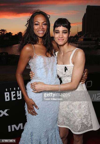 Actresses Zoe Saldana and Sofia Boutella attend the premiere of Paramount Pictures' 'Star Trek Beyond' at Embarcadero Marina Park South on July 20...