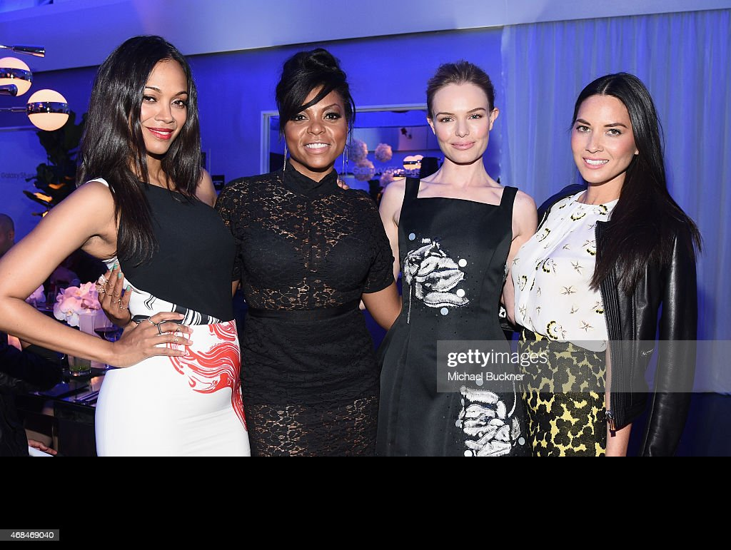 Actresses Zoe Saldana, Taraji P. Henson, Kate Bosworth and Olivia Munn attend the Samsung Galaxy S 6 edge launch on April 2, 2015 in Los Angeles, California.