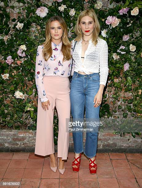Actresses Zoey Deutch and Zosia Mamet attend Rebecca Taylor x Shopbop Denim launch dinner at The Waverly Inn on August 17, 2016 in New York City.