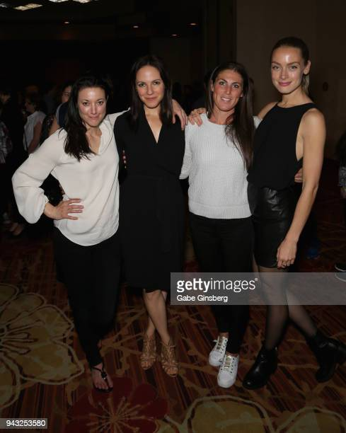 Actresses Zoie Palmer Anna Silk producer Vanessa Piazza and actress Rachel Skarsten attend the Cocktails for Change fundraiser hosted by ClexaCon to...
