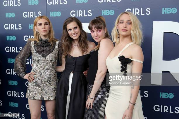 Actresses Zosia Mamet Allison Williams Lena Dunham and Jemima Kirke attend the New York Premiere of the Sixth Final Season of 'Girls' at Alice Tully...