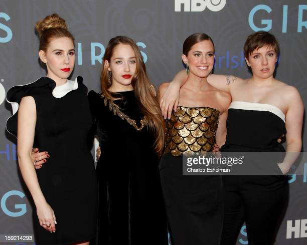 Actresses Zosia Mamet Jemima Kirke Allison Williams and creator Lena Dunham attend HBO hosts the premiere of 'Girls' Season 2 at the NYU Skirball...