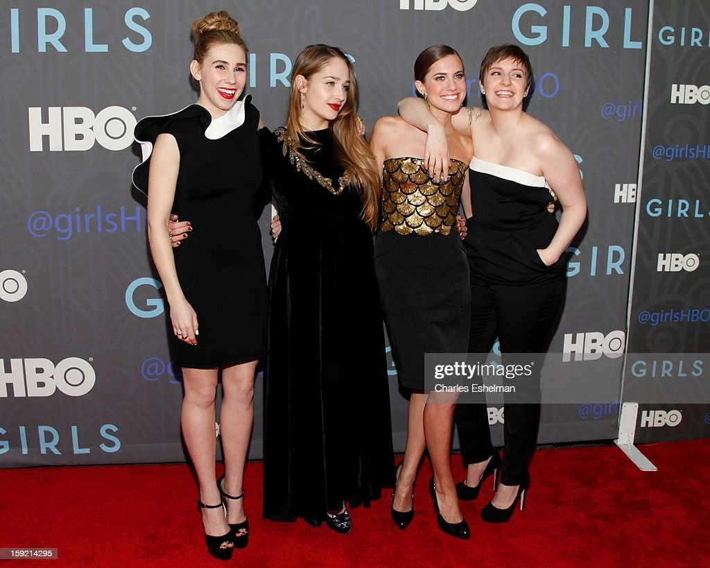 Actresses Zosia Mamet, Jemima Kirke, Allison Williams and creator Lena Dunham attend HBO hosts the premiere of 'Girls' Season 2 at the NYU Skirball Center on January 9, 2013 in New York City.