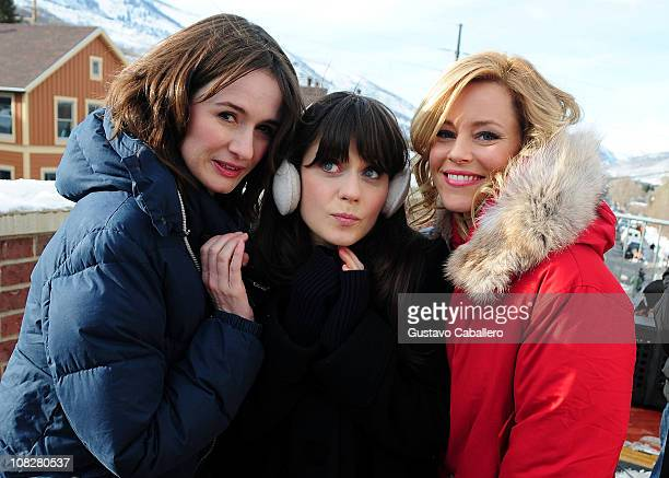 Actresseses Emily MortimerZooey Deschanel and Elizabeth Banks are interviewed by MTV News as they attend the Sundance Film Festival on January 23...