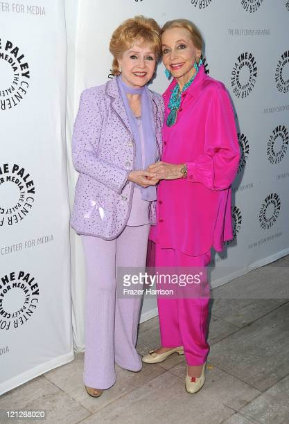 Actressess Debbie Reynolds and Anne Jeffreys arrive at The Paley Center For Media's Reception For 'Debbie Reynolds The Exhibit' on August 16 2011 in...