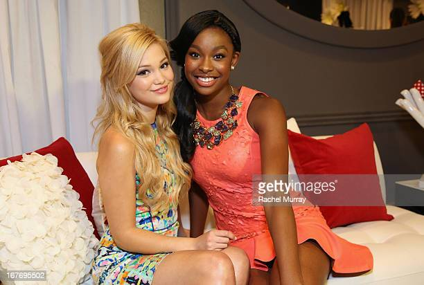 Actresses/Singers Olivia Holt and Coco Jones attend the Minnie Gifting Lounge during the 2013 Radio Disney Awards at Nokia Theatre LA Live on April...